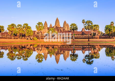 Angkor Wat, Cambodia. View from across the lake. - Stock Photo