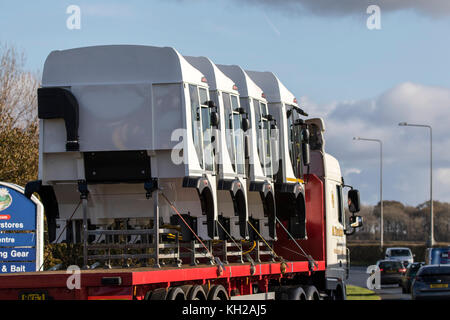 Heavy goods vehicle carrying truck cabins to final assembly point, Westby-with-Plumpton, Blackpool, Fylde. - Stock Photo