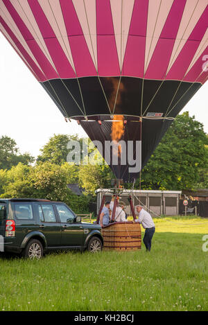 Hot air balloon in UK Country side - Buckinghamshire - United Kingdom - May 31 2017 - Stock Photo