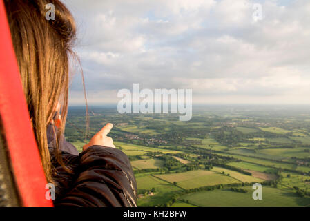 Aerial view of Buckinghamshire Landscape - United Kingdom - Hot air balloon aerial photography - Stock Photo