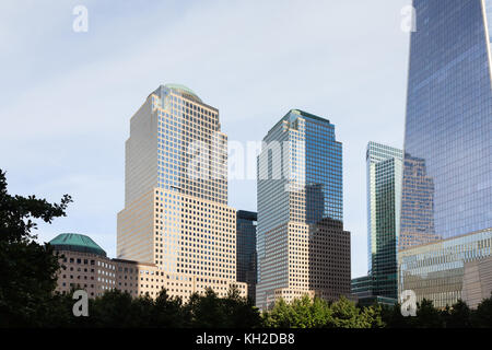 A view of Two and Three World Financial Centers in Manhattan, New York City. - Stock Photo
