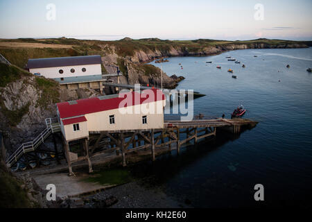 The old and new RNLI lifeboat stations at  at St Justinian's near The City of St David's (Ty Ddewi in welsh), Pembrokeshire, - Stock Photo