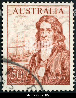 AUSTRALIA - CIRCA 1966: A used postage stamp from Australia, depicting an illustration of Explorer William Dampier, - Stock Photo