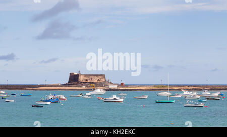 Castillo de San Gabriel is a 16th century fort in the Spanish port city of Arrecife.  The fort is on the island - Stock Photo