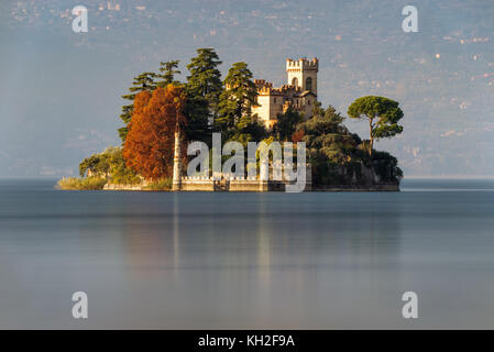 Little island Isola di Loreto on Iseo Lake, Italy - Stock Photo