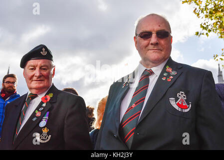 London, UK.  12 November 2017.  War veterans show off their medals as large crowds gather around Parliament Square - Stock Photo