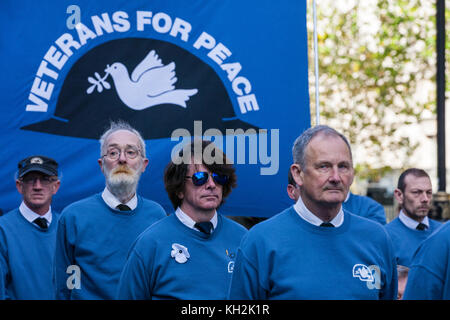 London, UK. 12th November, 2017. Ex-services men and women from Veterans For Peace UK (VFP UK) walk to the Cenotaph - Stock Photo