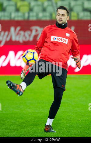 Gdansk, Poland. 12th Nov, 2017. Lukasz Fabianski, goalkeeper of the Poland national football team, during a training - Stock Photo