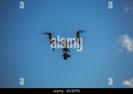 Varna, Bulgaria - May 13 ,2016: Image of DJI Inspire 1 Pro drone UAV quadcopter which shoots 4k video and 16mp still - Stock Photo