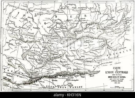 Central Asia old map. By Erhard and Bonaparte, publ. on le Tour du Monde, Paris, 1863 - Stock Photo