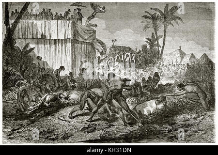 Old illustration depicting Dahomey indigenous contending head of human sacrifices victims. By Foulquier, publ. on - Stock Photo