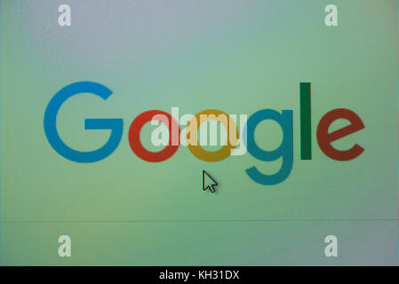 NOVI SAD, SERBIA - NOVEMBER 8, 2017: Google logo on computer screen. Google is american company that specializes - Stock Photo