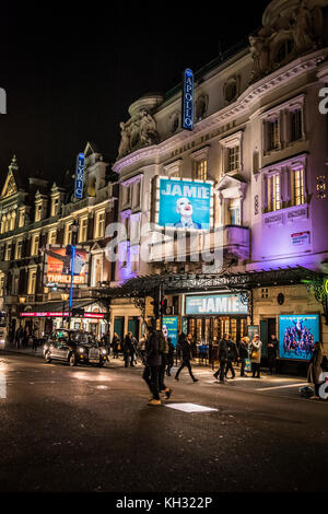 Thriller and Jamie on Shaftesbury Avenue in London's theatreland. - Stock Photo