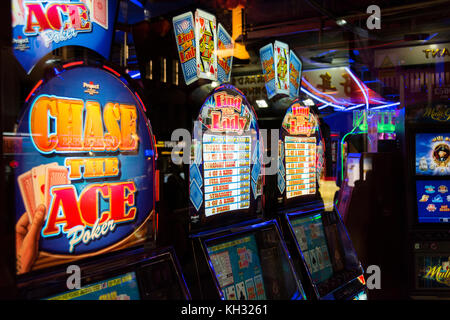 An amusement arcade in Chinatown in London's West End, UK - Stock Photo