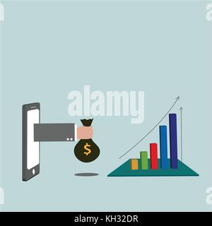 Smart phone with hand holding bag of money and candle stick graph chart of stock market investment trading. - Stock Photo