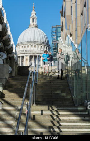 Peter's Hill a pedestrian walkway leading up from the Thames to St. Paul's Cathedral, London, EC4, UK - Stock Photo
