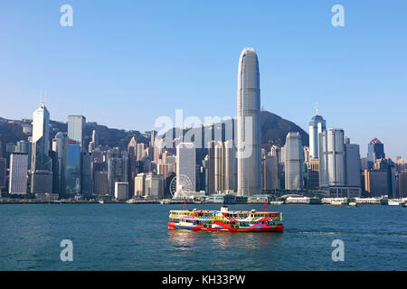 The city skyline of Central across Victoria Harbour in Hong Kong, China
