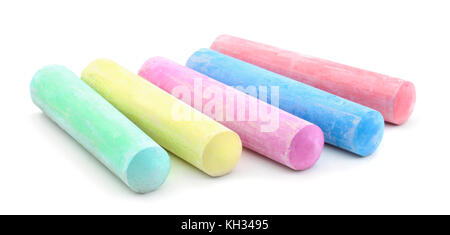 Colored chalks isolated on white background - Stock Photo