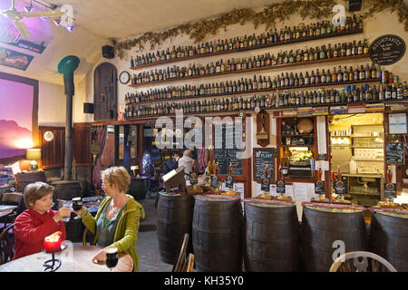mother and son in Allanwater Brewhouse, Bridge of Allan, Scotland, Great Britain - Stock Photo