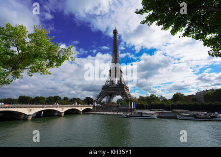 Eiffel Tower and Pont dIena with tree, Paris France - Stock Photo