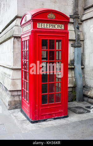 Kiosk No.2 K2 red telephone box  in the City of London, UK - Stock Photo