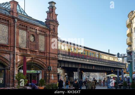 Elevated railway and train, Hackeschen Markt, Berlin, Germany, - Stock Photo