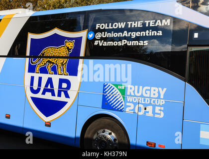 The coach used to transport the Argentina rugby union team around the 2015 World Cup venues is pictured in Leicester, - Stock Photo
