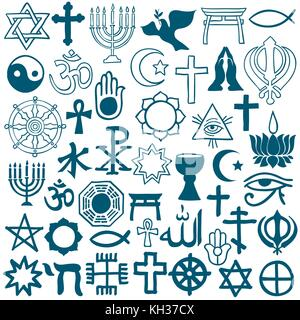 Big set of hand drawn doodle religious icons - vector illustration - Stock Photo