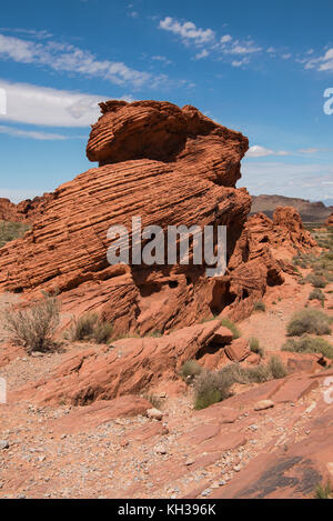 Beehive rock formation in Valley of Fire State Park near Overton, Clark County, southwest Nevada, USA - Stock Photo
