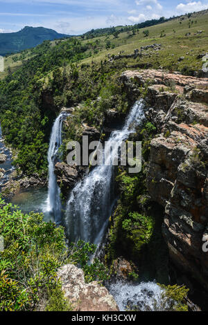 Lisbon Falls is the highest waterfall in Mpumalanga, South Africa. The waterfall is 94 m high and named for the - Stock Photo