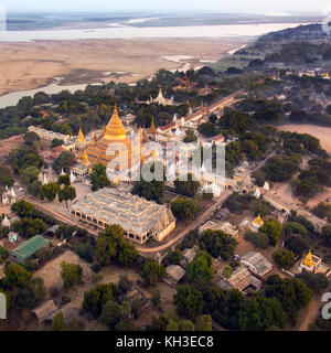 An early morning aerial view of the Shwezigon Buddhist Temple in the ancient city of Bagan in Myanmar (Burma). - Stock Photo