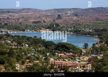 Small township of Mwedaw near Pindaya in the Taunggyi District of Shan State in central Myanmar (Burma). - Stock Photo
