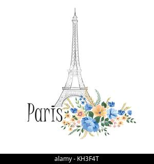 Paris background. Floral Parissign with flower bouquet and Eiffel tower landmark. Travel France icon - Stock Photo