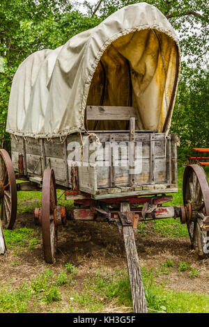 Wild West Wagon from Midwest United states, pioneer transportation history - Stock Photo