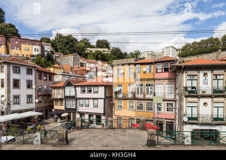 Facade of old home in the city of Porto in Portugal - Stock Photo
