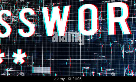 An exciting 3d illustration of a digital password with five corner asterisks in an extra big font put in cyberspace - Stock Photo