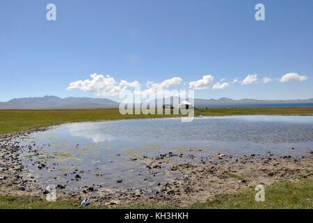 Kyrgyzstan,Song Kul lake - Stock Photo