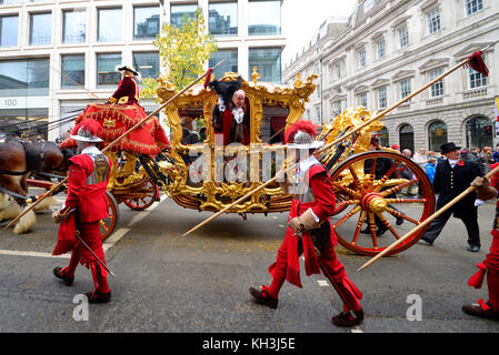 New Lord Mayor of London Charles Bowman in gold state coach at the Lord Mayor's Show Procession Parade along Cheapside, - Stock Photo
