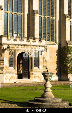 Trinity College Great Court and with chapel and sundial at Cambridge University. Cambridgeshire England UK - Stock Photo