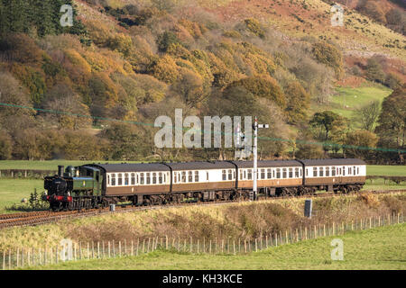 The Llangollen Railway (Welsh: Rheilffordd Llangollen) approaching Carrog railway station,Carrog, Denbighshire, - Stock Photo