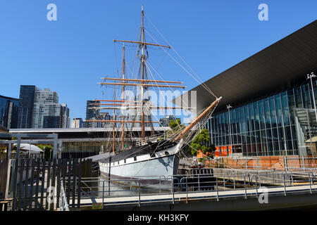 Three masted barque 'Polly Woodside' at South Wharf Precinct in Melbourne, Victoria, Australia - Stock Photo
