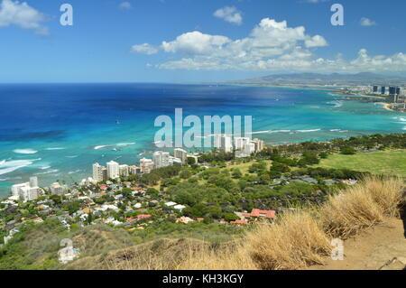 Waikiki Seen From Diamond Head. Oahu, Hawaii, USA, EEUU. - Stock Photo