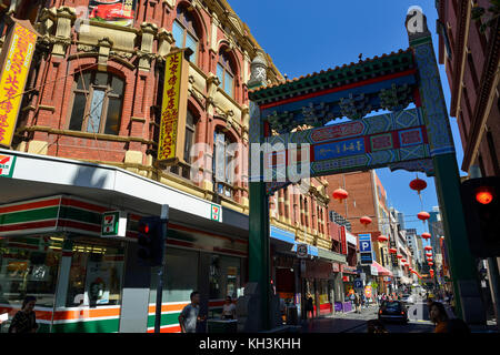 Chinatown Precinct at eastern end of Little Bourke Street in the Central Business District of Melbourne, Victoria, - Stock Photo