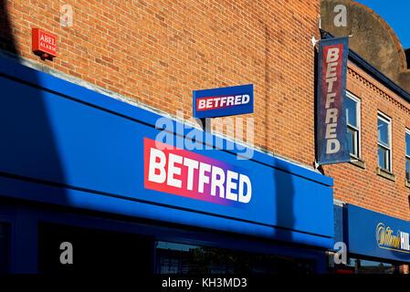 Logos of Betfred, betting shop, England UK - Stock Photo