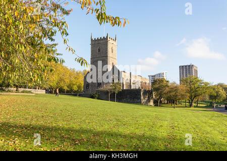 St Peter's Church in autumn, Castle Park, Broadmead, Bristol, England, United Kingdom - Stock Photo