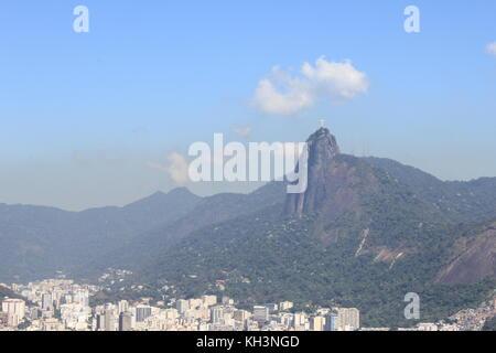 View from Corcovado in Rio de Janeiro - Stock Photo