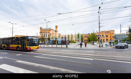 WROCLAW, POLAND - SEPTEMBER 12, 2017: people, bus on Pilsudskiego street and Railway Station in Wroclaw city. Wroclaw - Stock Photo