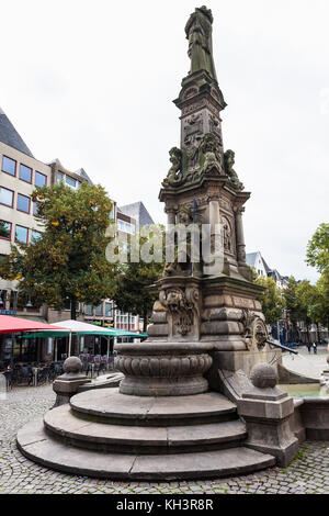 COLOGNE, GERMANY - SEPTEMBER 17, 2017: Jan von Werth fountain on Old Market (Alter Markt) square in Cologne city - Stock Photo