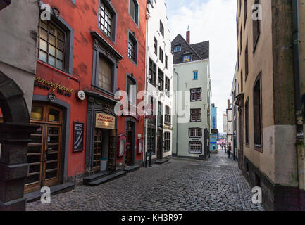 COLOGNE, GERMANY - SEPTEMBER 17, 2017: view of Salzgasse street in center of Cologne city. Cologne is fourth populated - Stock Photo