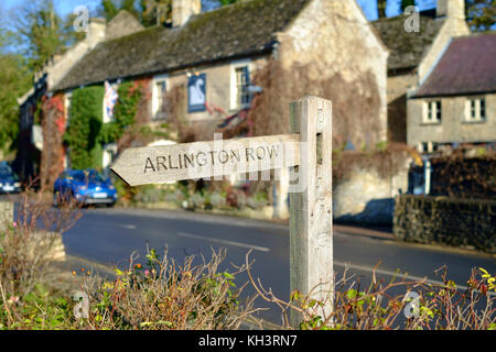 Bibury is  a classical small Cotswold village in Gloucesteshire England UK The Swan Hotel - Stock Photo